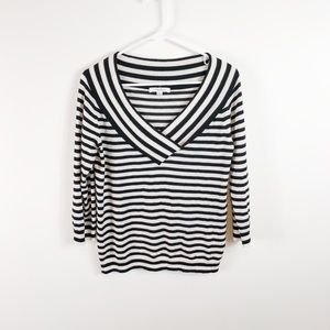 MaxMara Striped Deep V-Neck Sweater